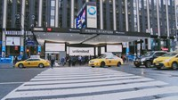 Penn Station and yellow taxi's