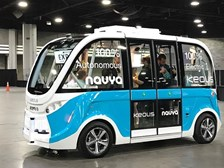Navya presented its autonomous shuttle on demo at the APTA Expo