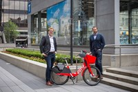Michael van Hemmen, right, general manager of cities west at Uber Canada is pictured with Andrew Salzberg, Global Head of Transportation with Uber in Vancouver, British Columbia on June 14, 2018.