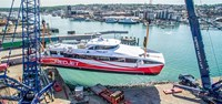 Red Jet 7 touches water for the first time on the Isle of Wight (Image: Red Funnel)