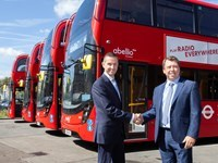 Alan Pilbeam, Abellio UK Chief Operating Officer and Deputy Managing Director, receives the latest Enviro400H hybrid buses from Martin Brailey, ADL Regional Sales Director London and the South.