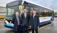 Group photo from left to right: Stagecoach Chief Executive Martin Griffiths, Fusion Processing Ltd. CEO Jim Hutchinson and Alexander Dennis Chief Executive Colin Robertson