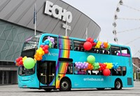 Arriva unveils its commitment to equality and diversity with a new rainbow themed bus.