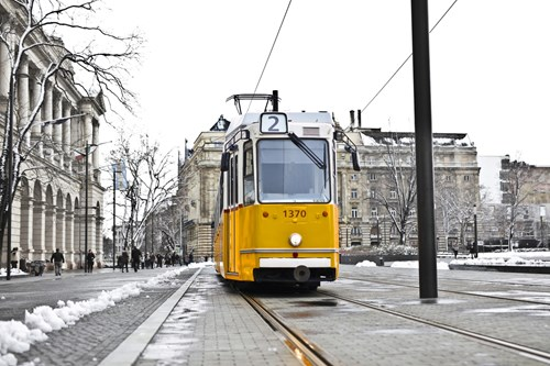 Black and yellow tram